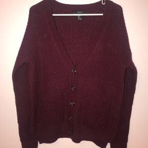 Forever 21 Burgundy Knitted Button Sweater